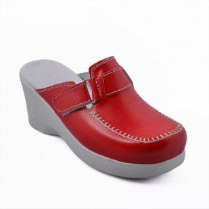 Yüksek Topuk Tokalı Saraçlı Kırmızı Sabo Terlik